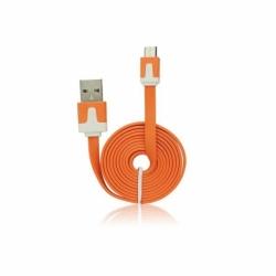 Cablu Date & Incarcare MicroUSB Plat - 1 Metru (Portocaliu)