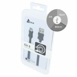 Cablu Date & Incarcare Plat Fast Charge MicroUSB - 80cm (Negru) ACURA CU-5