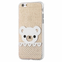 Husa APPLE iPhone 6/6S - Fashion (Shinny Bear Auriu)