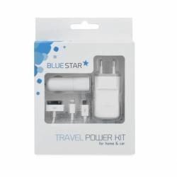 Kit Incarcator Priza + Auto + Cablu APPLE & MicroUSB (Alb) Blue Star
