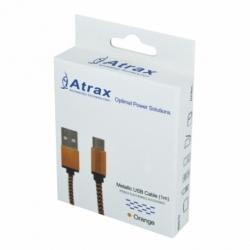 Cablu Date & Incarcare Textil MicroUSB (Portocaliu) ATX