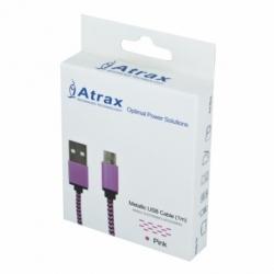 Cablu Date & Incarcare Textil MicroUSB (Roz) ATX