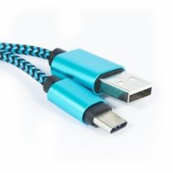 Cablu Date & Incarcare Textil Tip C (Albastru) ATX
