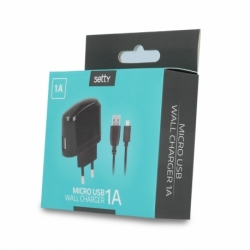 Incarcator 1A + Cablu MicroUSB (Negru) Setty
