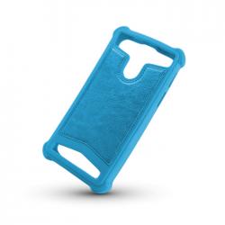 "Husa Universala (5 - 5.5"") Silicon-Piele (Albastru)"