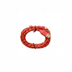 Cablu Date & Incarcare Rotund Textil APPLE Lightning (Rosu) 1 Metru