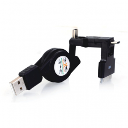 Cablu Retractabil 3in1: MicroUSB / MiniUSB / APPLE iPhone 4 (30 Pini) (Negru) WOZINSKY