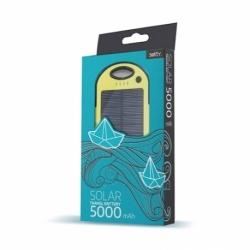 Baterie Externa cu Incarcare Solara - 5000 mAh (Galben) Setty