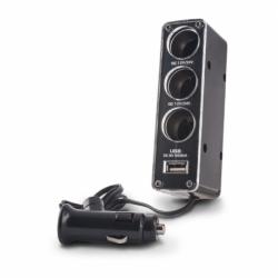 Splitter Bricheta Auto cu 3 Iesiri + USB (Negru) Forever