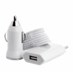 Kit Incarcator Priza + Auto + Cablu Lightning (Alb)