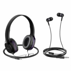 Set Casti Audio + Casti Telefon cu Microfon (Violet) HOCO W24