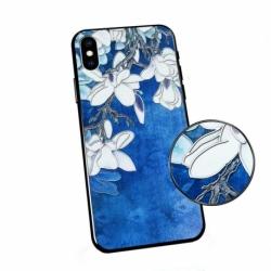 Husa HUAWEI P40 Lite E - Flowers 3D (Albastru)