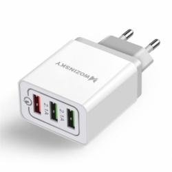 Incarcator Quick Charge 3.0A cu 3 Porturi USB - Doar Priza (Alb) Wozinsky WWC-01