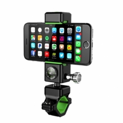 Suport Ajustabil Telefon Bicicleta Universal + Busola (Negru/Verde)