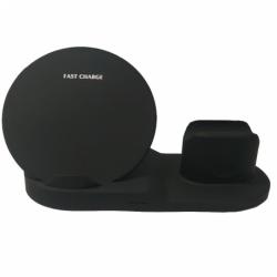 Incarcator Universal Wireless Fast Charge + Dock / Stand de Incarcare APPLE Lightning (Negru)