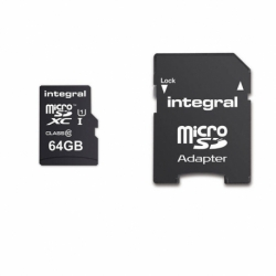 Card MicroSD 64GB + Adaptor (Clasa 10) Integral Ultima Pro