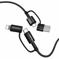 Cablu Date & Incarcare 3.1A 4in1 - Tip C / USB- USB Tip C / Lithtning (Negru) 1.8 Metri Joyroom S-1830G3