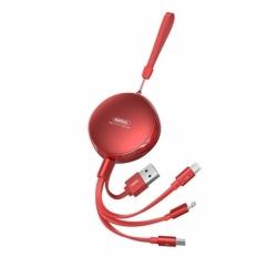 Cablu Retractabil 2.1A 3in1: Tip C / Lithtning / MicroUSB (Rosu) 1 Metru REMAX RC-185th
