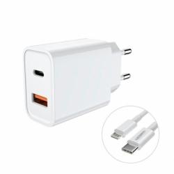 Incarcator Universal USB & Tip C + Cablu Lightning  (Alb) JELLICO C9-T
